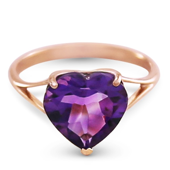 Galaxy Gold Products Jewelry - 14K. SOLID GOLD RING  10.0 MM HEART AMETHYST